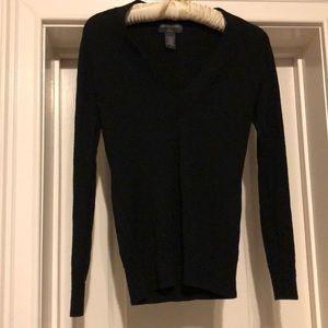 Banana Republic Merino Wool Black V-Neck Sweater